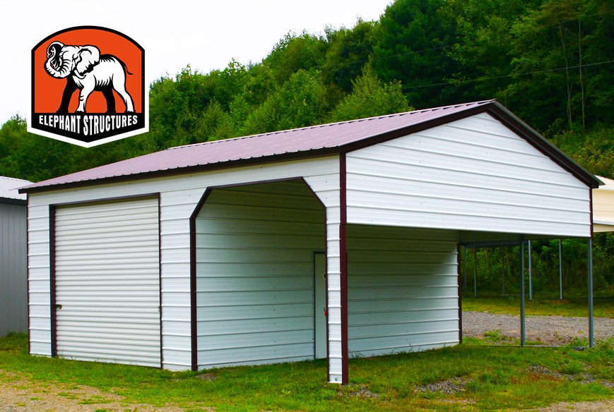 Carports can have two uses at oncemetal shelters for Single garage with carport