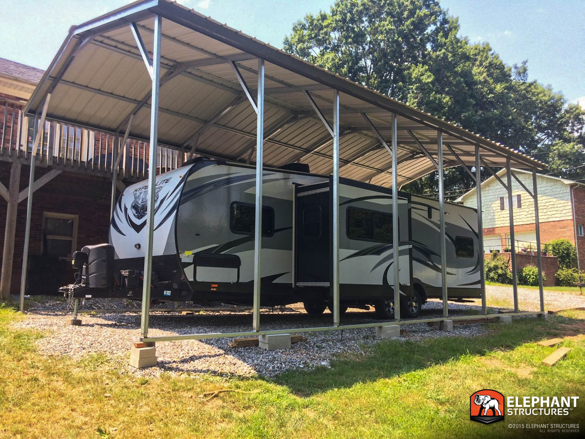 Rv carport metal sheltersmetal shelters for Rv buildings
