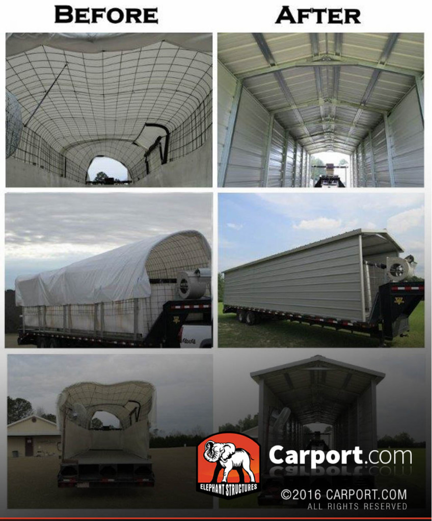 Before and after pictures of moveable storage on a trailer.