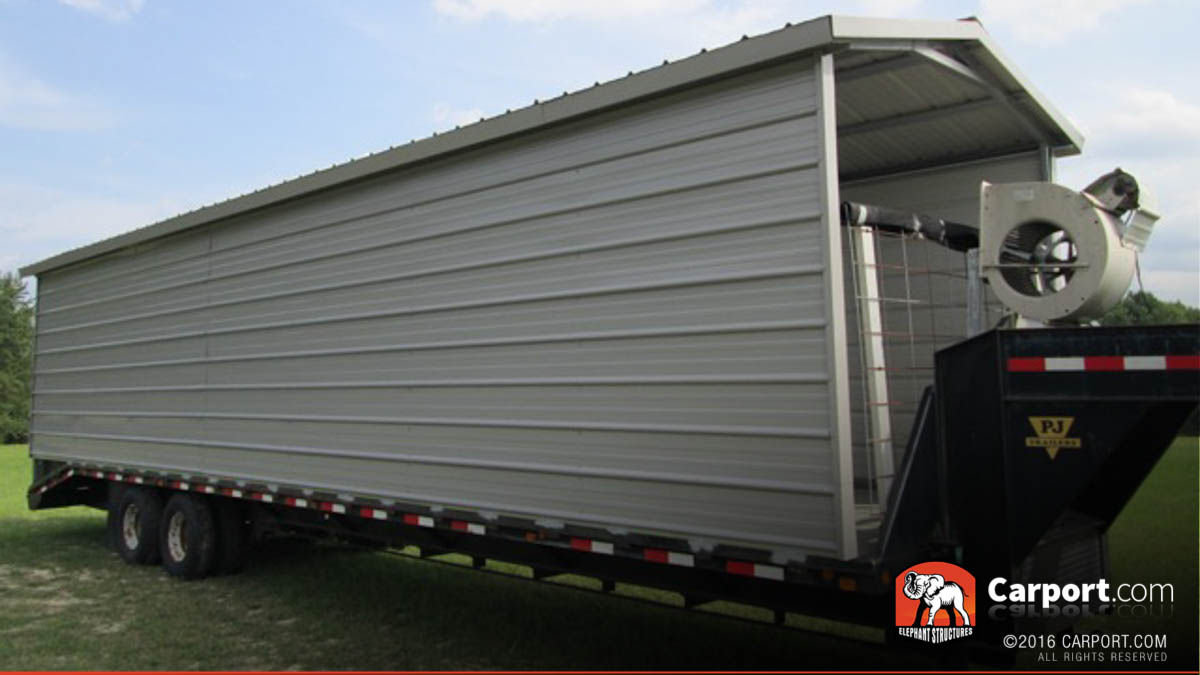 Moveable storage created by a carport kit on a trailer.